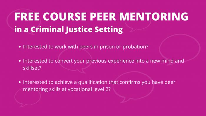 Peer Mentoring in a Criminal Justice Setting