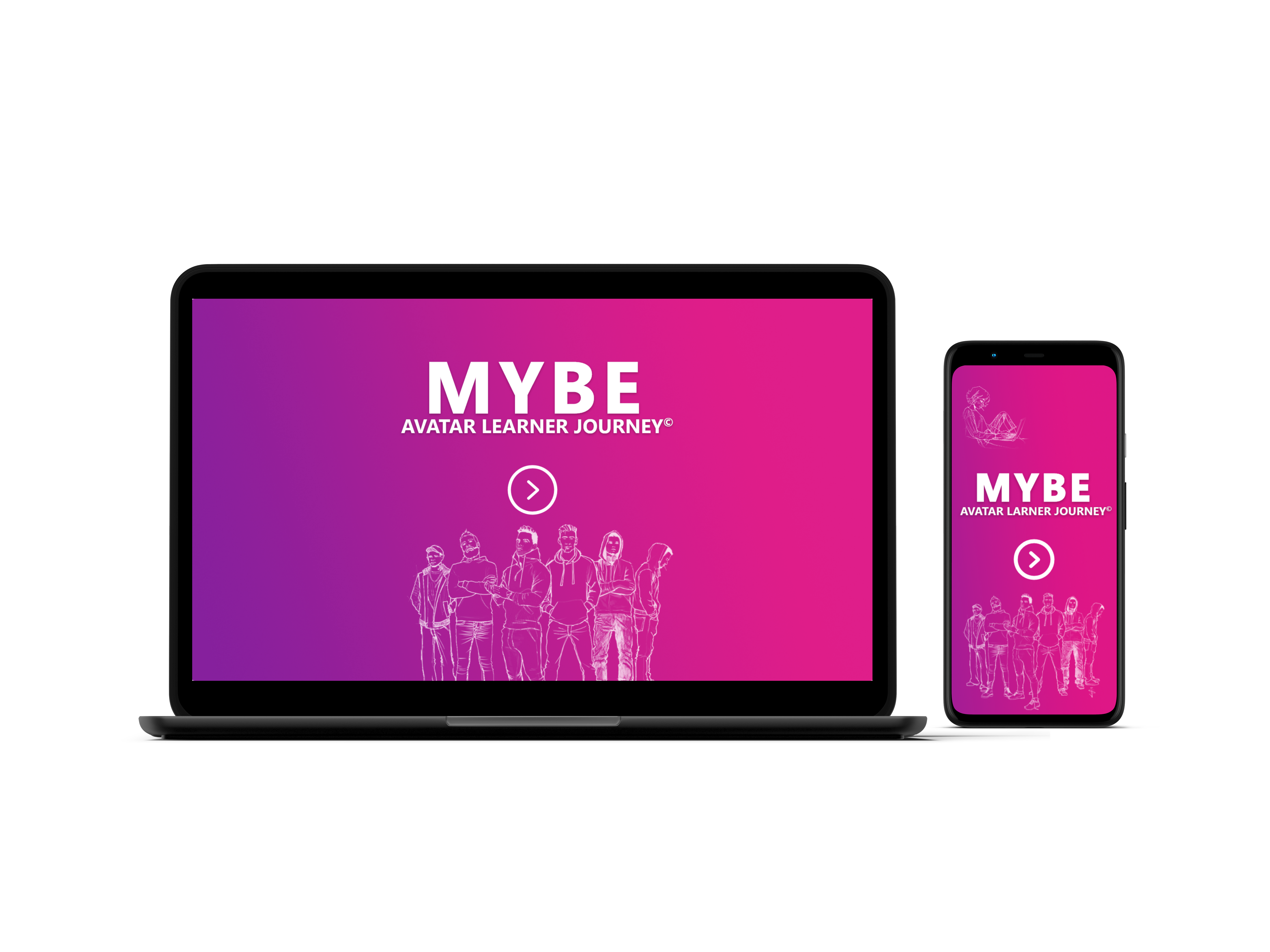 MYBE Avatar Learner Journey on laptop and mobile